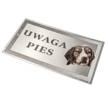 Пластина из нержавеющей стали - WARNING DOG - Beagle - laser