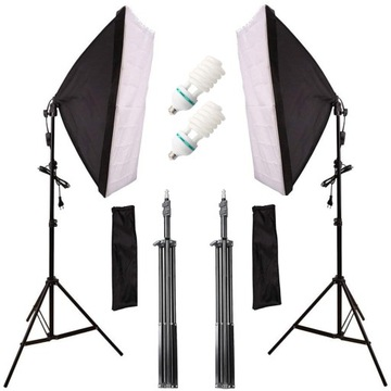 2 LAMPY FOTOGRAFICZNE 1200W STATYW SOFTBOX 50X70cm