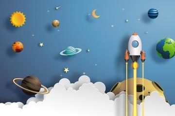 Фотообои детские по размеру, космосу, ракете