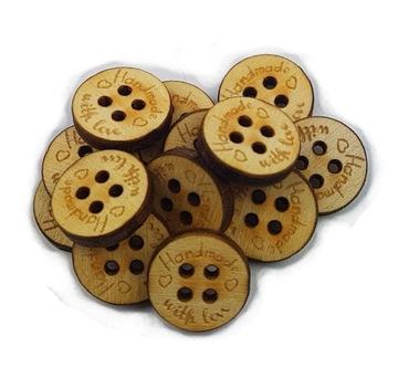 Пуговица деревянная Hand Made, пуговицы декоративные 5шт 15мм