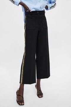 ZARA BIAŁE SZEROKIE SPODNIE w Eleganckie spodnie damskie