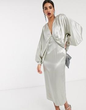 ASOS Sukienka PREMIUM kimono szara M 38