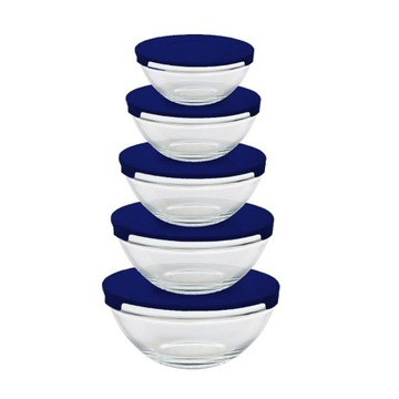 Стеклянные салатницы с крышками, 5 шт.