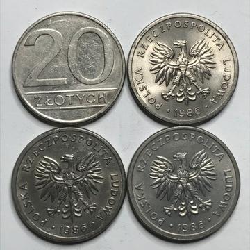 Монета 20 злотых 1986 широкая дата - редкость