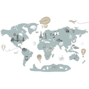 настенные наклейки для детей карты мира карты
