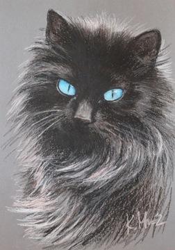 КОШКА КОШКА портрет кота масляной пастелью А3
