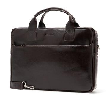 Skórzana torba laptop duża teczka aktówka Brodrene
