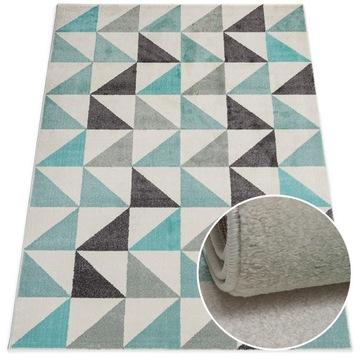 Пастельный молодежный коврик 60x100 см Серый Бирюзовый