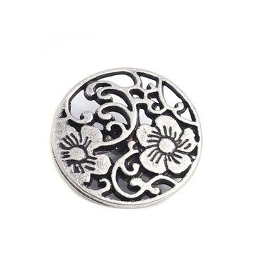 1шт круглая металлическая пуговица, ажурная, цветок 19мм