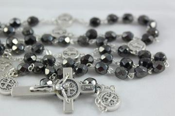 Хрустальные четки с крестом св. Бенедикт