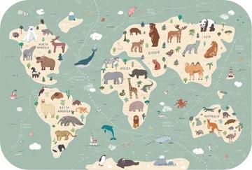 Наклейка с картой мира животных - дети