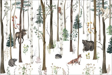Индивидуальные фотообои лес, заяц, лесные животные