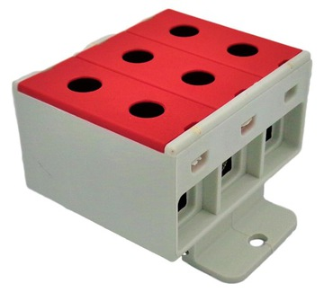 3-контактная клеммная колодка 35мм2 красная ZGX-3x35 c