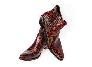 38-46 Włoskie kowbojki skóra cowboy boots brązowe