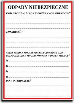 Этикетки ДЛЯ ОПАСНЫХ ОТХОДОВ Этикетки ФОЛЬГА x 100