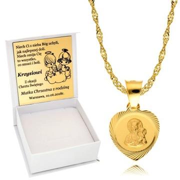 Łańcuszek Złoty 925 Medalik Chrzest Komunia Grawer