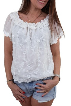 Bluzka oversize boho z gipiurą biała, Sklep internetowy cocom