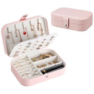 Kuferek Szkatułka Organizer Box Na Biżuterię róż