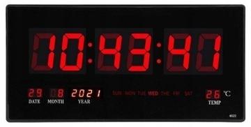Большие цифровые настенные часы со светодиодной подсветкой и датой, термометр 45 см