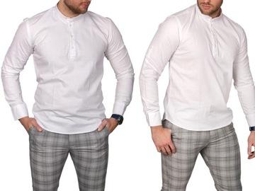 Koszula męska biała stójka img-022-1 rozm. S