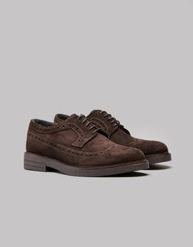 Ciemnobrązowe zamszowe buty brogsy b200 r. 42