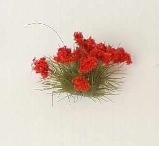 Цветы для модели - красные пучки H0.