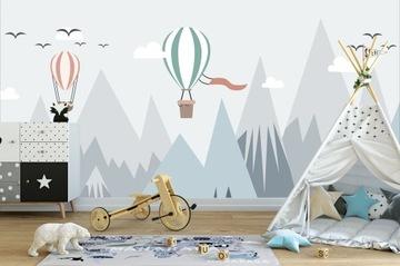 Фотообои для детей, воздушные шары, горы, облака
