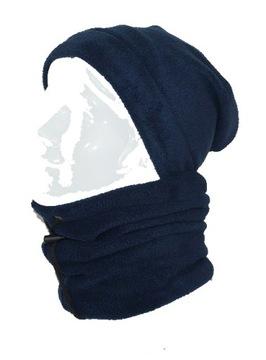 Komplet Polar CZAPKA Krasnal KOMIN Polarowy Maska