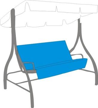 Сиденье покрыто подкладкой для садовых качелей.