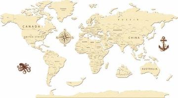 Карта мира 3D дизайн деревянных стен
