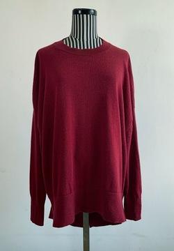 COS sweter wełna wool minimalizm oversize bordo S