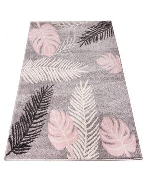 Мягкие серо-розовые листья ковра Bambino 100x150