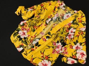 0408mk65 PEACOCKS żółta NARZUTKA kwiaty S