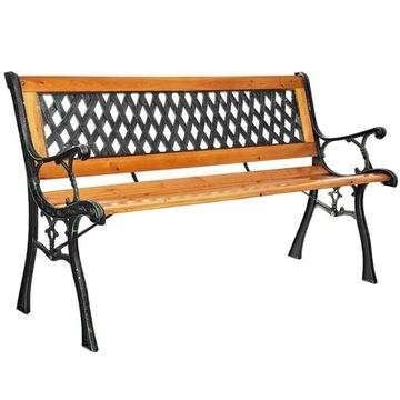 Деревянная садовая скамейка со спинкой, украшенная террасой