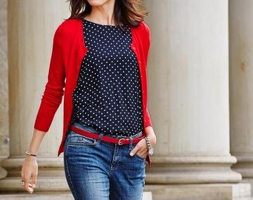 RESERVED śliczny sweter kardigan 36 czerwony