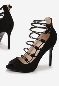 Czarne sandały na szpilce R-38