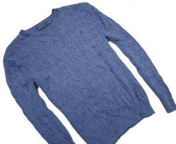 Ralph Lauren Polo sweter warkocz męski jedwab M