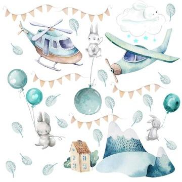 детские наклейки на стену воздушные шары кролики воздушный шар