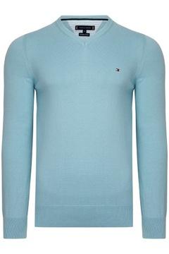 Sweter męski Tommy HILFIGER Błękitny r. XL