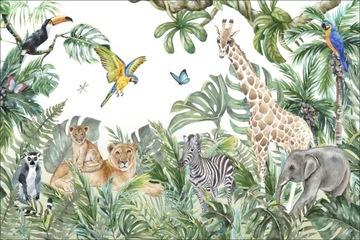 Панно по размеру зебра, жираф, слон, попугаи