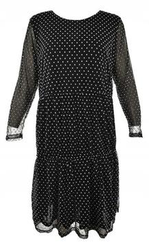VRS czarna sukienka w groszki, falbanki 46
