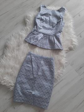 H&M piekny komplet bluzka spódnica XS 34 S 36