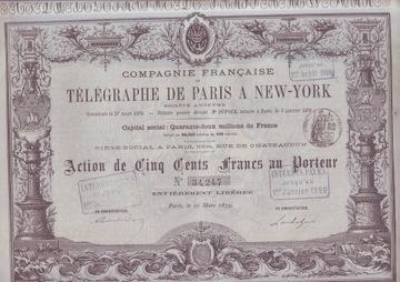 Telegraphe de Paris в Нью-Йорке, а.100 франков. с 1879 г.