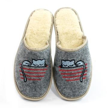 Ciepłe kapcie klapki pantofle damskie filc wełna