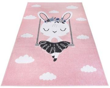Современный розовый детский коврик 140х200 кролик