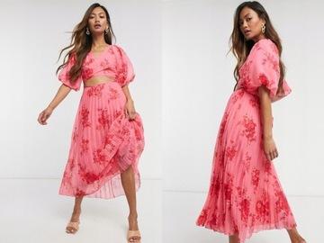 DESIGN Plisowana kopertowa sukienka midi 40