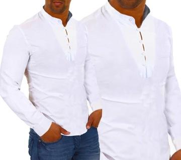 Koszula Męska Casual Stójka Codzienna Gładka NEW