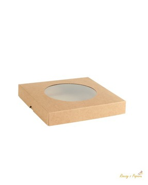 Ящик с окном О, низкий квадрат - крафт