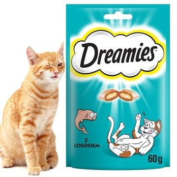 СЛАДКОЕ Печенье для кошки DREAMIES С ЛОСОСЕМ 60г