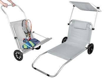 Складной шезлонг на колесах для пляжа и сада